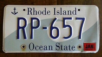 RHODE ISLAND LICENSE PLATE Tag RP 657 The Ocean State Blue Wave Anchor Jan 2002