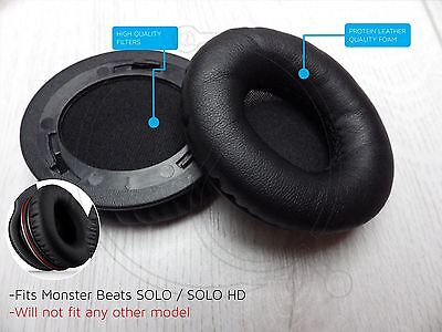 Black Ear Cushion Kit Beats Solo Solo Hd Replacement Ear Pads Protein Leather
