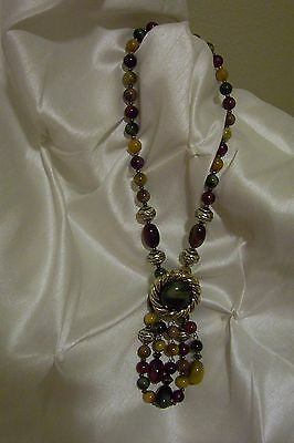 Vintage Necklace, Pendant And Beads,   Chunky  Retro Look,