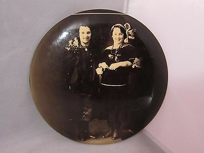 Large 1900-1920s Tin Button Photo of two young girl by Columbia Portrait Co.