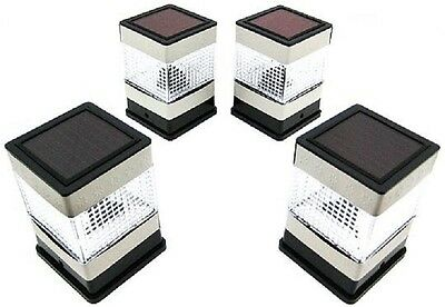 4-Pk 4 x 4 Solar Heat Resistant Plastic Square Deck Fence Mount Post Light