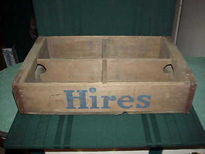 "Vintage Hires Root Beer ~Wooden Crate~ Bottle Carrier ""4 Section Crate"""
