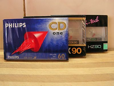 3 x Blank Cassette Tapes, Philips, TEAC, Audiosonic, Brand New & Sealed