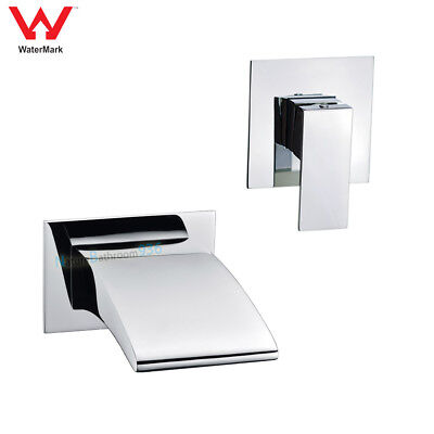 Wall Mount Bathtub Basin Spout Waterfall Outlet Vanity Shower Mixer CHROME