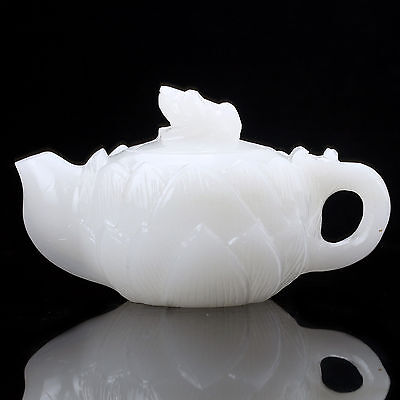 Exquisite Chinese 100% Natural White Jade Hand Carved Lotus Teapots