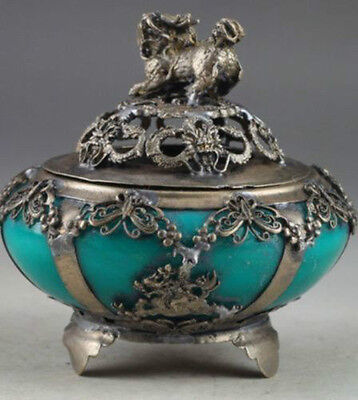 Chinese characteristics jade old retro hand carved kylin incense burner
