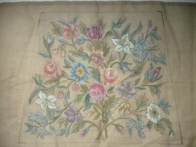Vintage French HP Needlepoint Canvas Chair Seat Floral Bouquet Flowers