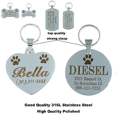 High Quality Steel Free Custom Engraved Dog Cat Tag Personalized Dog Pet Id Tags