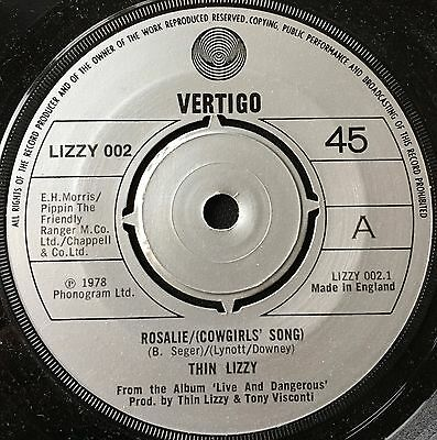 "THIN LIZZY - ROSALIE  b/w  ME AND THE BOYS  (1978)  7"" vinyl single"