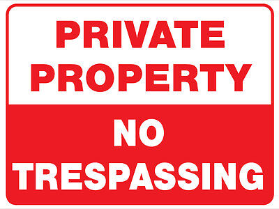 Private Property No Trespassing Metal Sign 450X300Mm