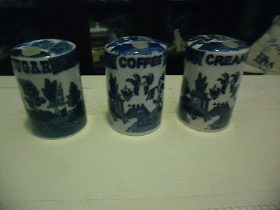 Blue Willow, Coffee, Creamer, Sugar Canisters
