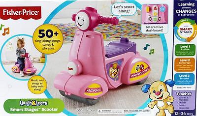 Fisher Price Ride-On Laugh & Learn Pink Scooter 50+ Songs Tunes & Phrases