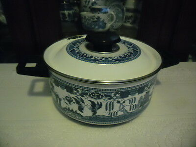 Blue Willow Large Double Handle Saucepan