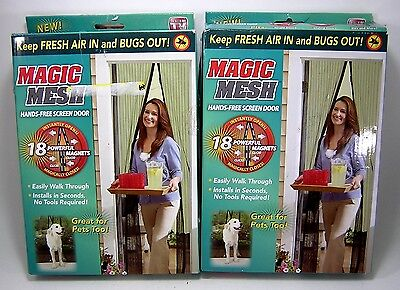 Magic Mesh Magnetic Screen Door SET of 2 Hands Free Hanging Curtain