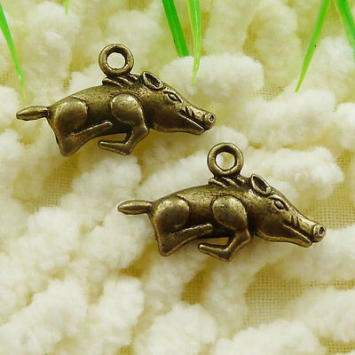 Free Ship 54 pieces Antique bronze wild boar charms 22x13mm #185