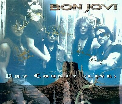 Bon Jovi All 5 Members Dry County Live Booklet Hand Signed Autographed (No Cd)