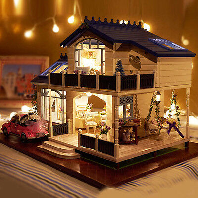 DIY New Wooden Dollhouse Luxury Provence Villa Furniture With Light Xmas Gift