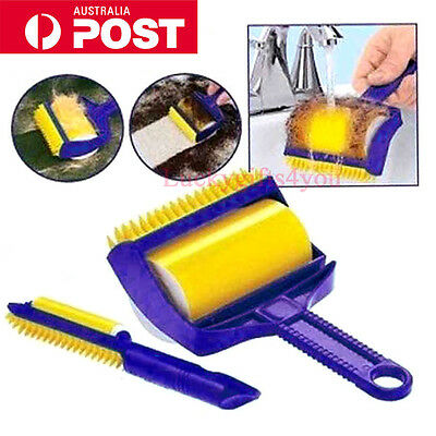Reusable Sticky Picker Cleaner Lint Roller Buddy Tool Pets Hair Remover Brush AU
