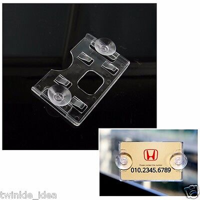 Clear Acrylic Horizontal Business Card Holder (rubber suction) for Universal Car