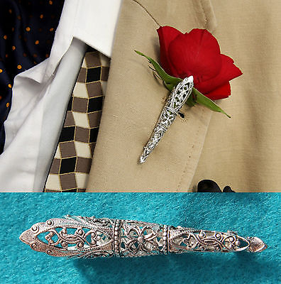Silver Plated Medium Wedding/Prom Buttonhole Flower Vase*Corsage*Boutonniere