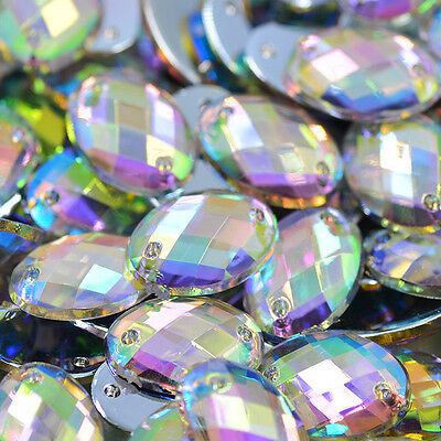 50 pcs x  Sew On 10x14 mm Acrylic Rhinestones  Clear AB Color Oval Shape