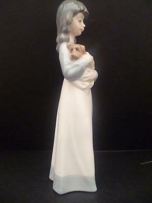 Lladro/nao Figure Of A Girl Holding Her Brown Puppy Dog