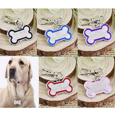 Personalised Engraved Pet Dog Cat Bone Name Disc ID Tag Custom Collar Identity