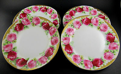 "Set Of 4 Vintage Hand Painted Roses Bavaria Germany 6"" Plates (E41)"
