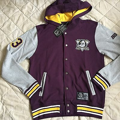 BNWT Majestic NHL Anaheim Ducks Fleece Letterman Size M