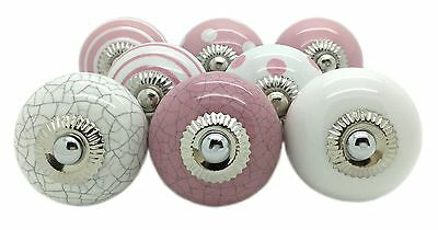 8 x Pink & White Ceramic Door Knobs Vintage Shabby Chic Handles Pink-1 New