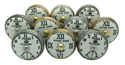 10 x Potter-Stone & Paris Clocks Ceramic Door Knobs Antique Brass and Silver