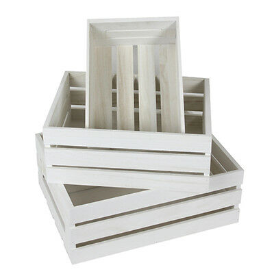 Set of 3 Wooden White Crates Boxes Timber Home Decor Storage