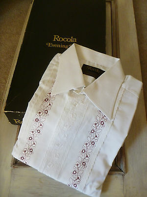 """Vintage 1970's Rocola Evening Shirt White Embroidered 16.5"""" Collar 44/46"""" Chest"""
