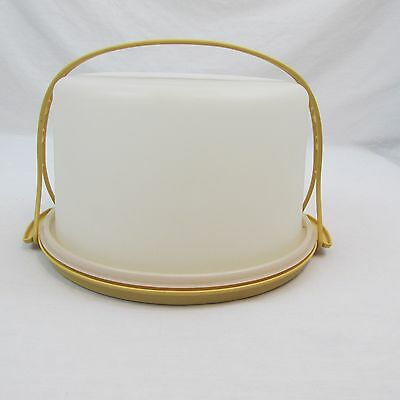 Tupperware Solid HARVEST GOLD Round CAKE CARRIER pie taker with HANDLE