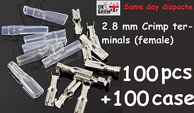 100 set 2.8mm Crimp Terminal Insulated Female Motorcycle Spade Connector + Case