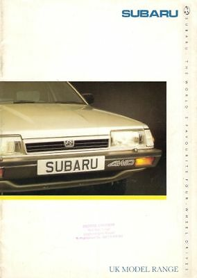 Subaru XT 1.8 1.6 Justy 700 4WD Pick Up Brat 1987-88 UK Market Sales Brochure