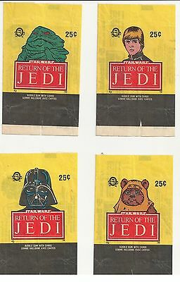 Lot of 4 Star Wars Return of the jedi card wrapper 1983 opc