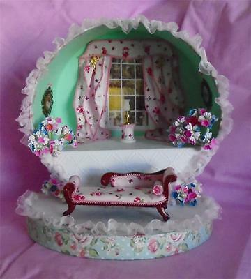 filled ROOM BOX shabby chic style HANDMADE new dolls house 12th scale #1