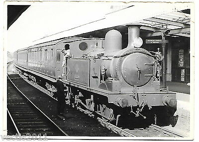 Isle of Wight Railway - Engine in a station - photograph by Peter J Relf