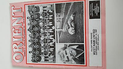 football programme.ORIENT v WESTHAM FACUP 3.R.10/01/1987