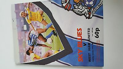 football programme.COVENTRY v WESTHAM div1..24/01/1987