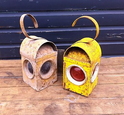 Vintage industrial yellow road light lantern, 5 available