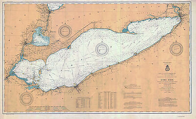 1903 Nautical Map of Lake Erie USA & Canada Presque Isle Cleveland Sandusky