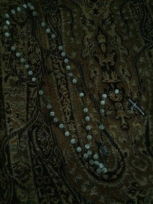 Men's Rare Collectors Pearl And Metal Rosary Beads