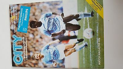 football programme.MAN CITY v WESTHAM Div1 13/12/1986