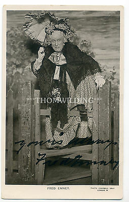 FRED EMNEY Female Impersonator DAME Music Hall THEATRE Ink Signed AUTOGRAPH