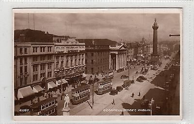 O'Connell Street Dublin Valentine's series R1357 RP Postcard posted 1940s