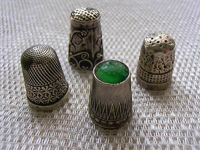 4 used mixed metal silver /steel sewing thimbles - a Charles Horner Dorcas, HC&S