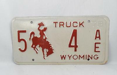 1978 Wyoming Truck License Plate Low Number  5-4 Ae