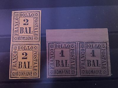 Italy Romagne Romagnia 2 pairs facsimile stamps to fill gap in collection